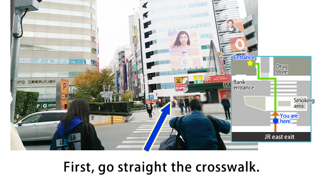 Go straight the crosswalk.