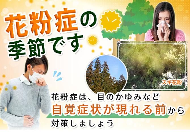 花粉症の季節です。花粉症は、目のかゆみなど自覚症状が現れる前から対策しましょう。